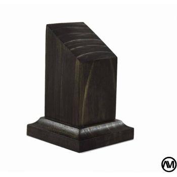 Peana pedestal busto madera acabado en tabaco 3x3x7