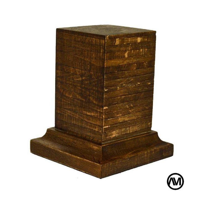 PEANA PEDESTAL MADERA HAYA BETEADO OSCURO 3,5x3,5x6